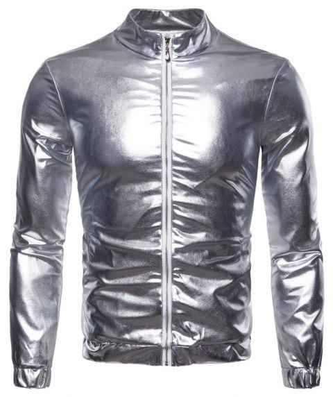 Man Jacket Single Color Fashion Leisure Time Thickened Coat - SILVER M