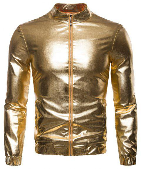 Man Jacket Single Color Fashion Leisure Time Thickened Coat - GOLD 2XL
