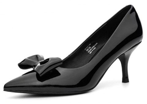 Louise et Cie Women'S Pumps Solid Color Pointed Toe Bow Decor Elegant Pumps - BLACK EU 35