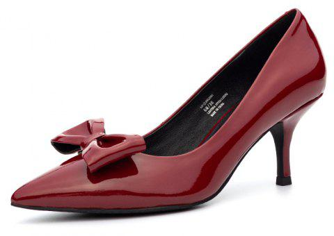 Louise et Cie Women'S Pumps Solid Color Pointed Toe Bow Decor Elegant Pumps - RED EU 40