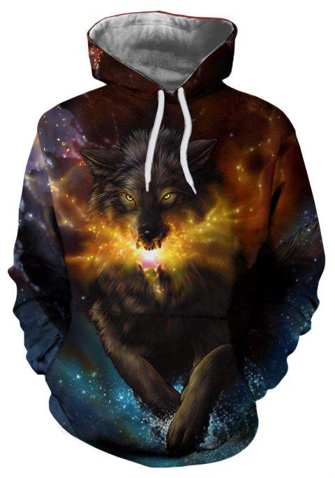 Men's Fashion 3D Fire Flame Wolf Digital Print Patch Pocket Hoodie Sweater - multicolor XL