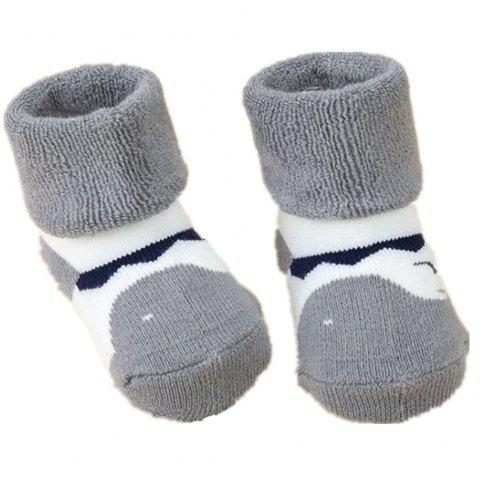 2Pcs Cute Cartoon Printed Thick Breathable Infant Booties Baby Shoe Socks - GRAY S