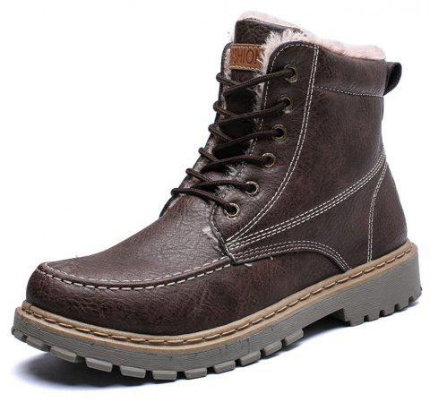 Winter Warm Men'S High Top Martin Boots - DEEP BROWN EU 42