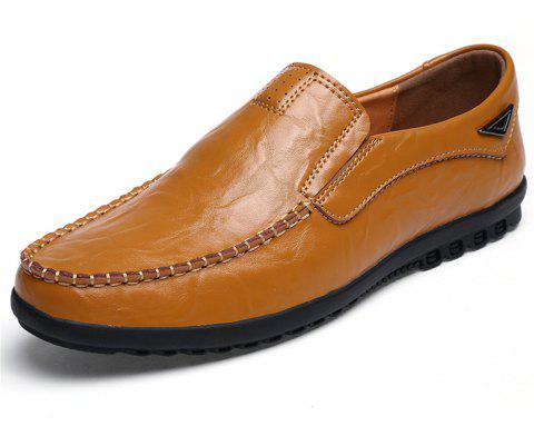 Men'S High Quality Leather Shoes - GOLDEN BROWN EU 40