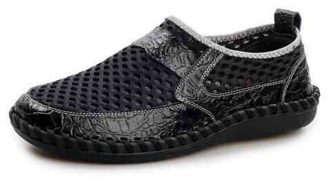 Men'S Summer Cool Breathable Mesh Cloth Casual Shoes - GRAPHITE BLACK EU 48