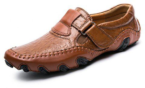 Men'S Comfortable Leather Magic Sticker Casual Shoes - BROWN EU 39