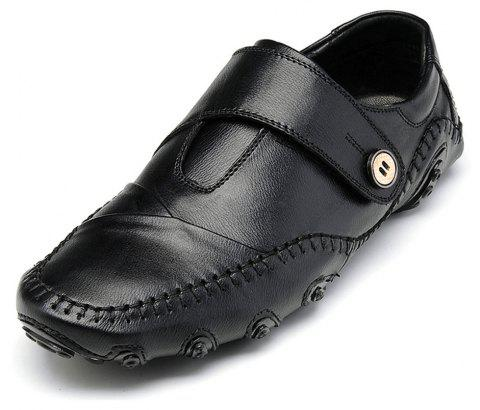 Men'S British Style Leather Fashion Driving Shoes - BLACK EU 45