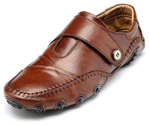 Men'S British Style Leather Fashion Driving Shoes - BROWN EU 42