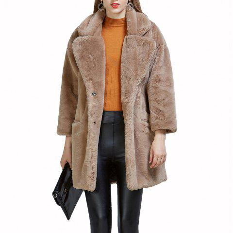 Women's Synthetic Fur Coat Solid Color Notched Collar Outerwear - LIGHT BROWN L