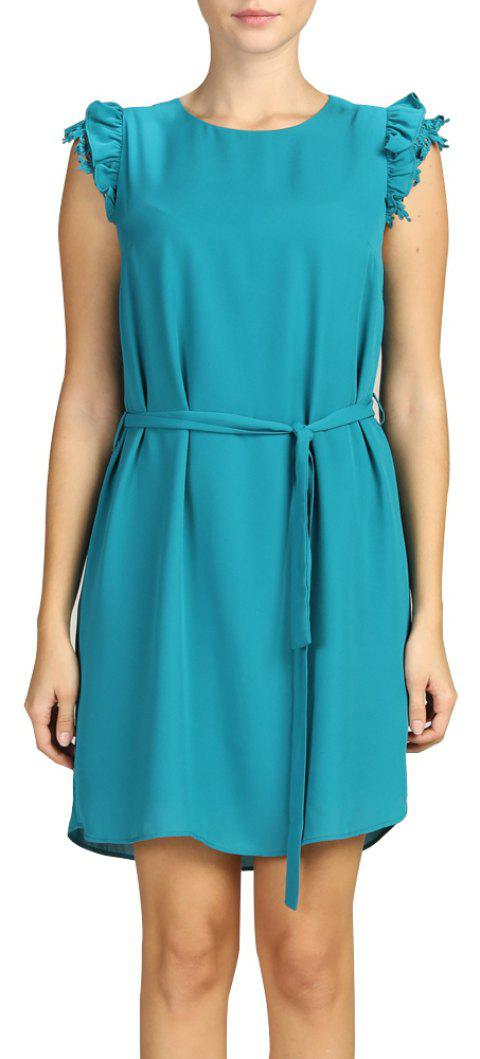 SBETRO Casual Dress Solid Colored Sundress with Tie Button Autumn Winter - TURQUOISE 2XL