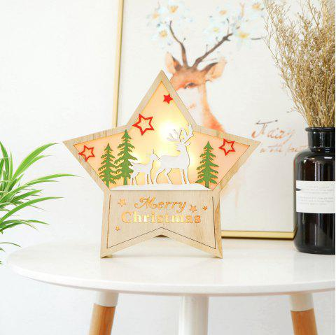 Christmas Large Luminous Wooden Five-Pointed Star Cabinet Table Top Decoration - multicolor B 30*30*5CM