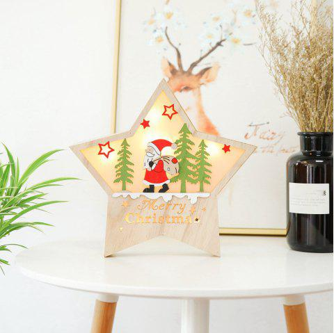 Christmas Large Luminous Wooden Five-Pointed Star Cabinet Table Top Decoration - multicolor A 30*30*5CM