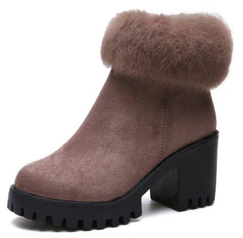 Round head short tube side zipper suede rough and hairy fashion fashion boots - ROSY FINCH EU 36