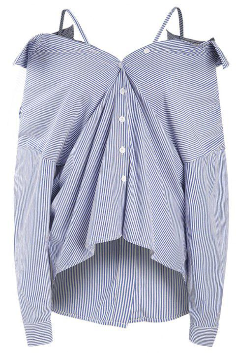 Breif Sexy Off The Shoulder Sling Stripe Shirt - multicolor A L