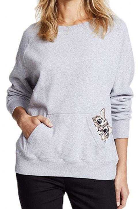 Cartoon  Embroidery Long-Sleeved Sweater - PLATINUM M