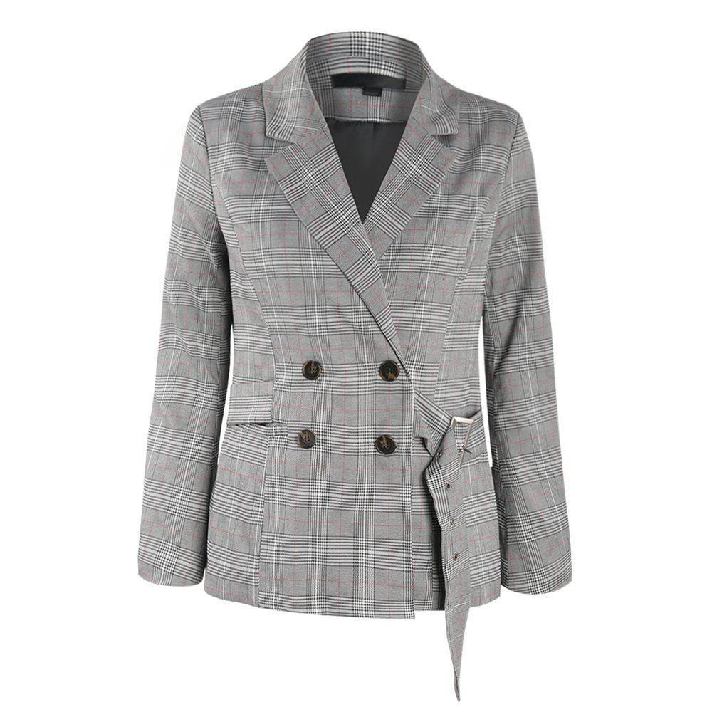 double Breasted Belt Small Suit Jacket - PLATINUM M