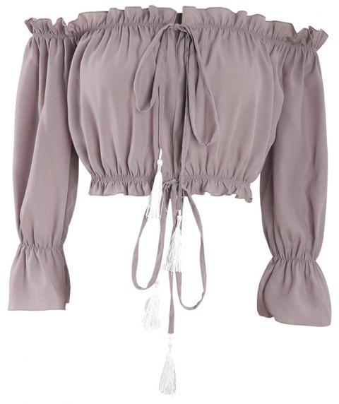 Hollow Out Boat Neck Off-The-Shoulder Chiffon Crop Top - MAUVE M