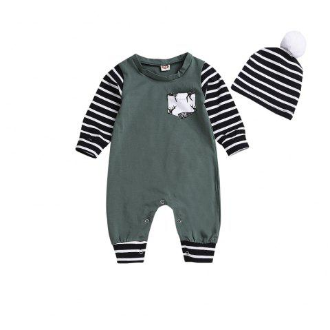 Green Striped Jumpsuit for Children with Striped Hats - DEEP GREEN L