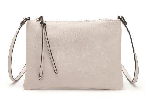 Casual Crossbody Bags for Women PU Leather Messenger Bags Female Flap Handbag - WARM WHITE