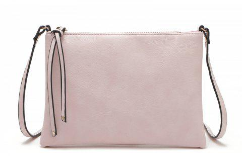 Casual Crossbody Bags for Women PU Leather Messenger Bags Female Flap Handbag - LIGHT PINK
