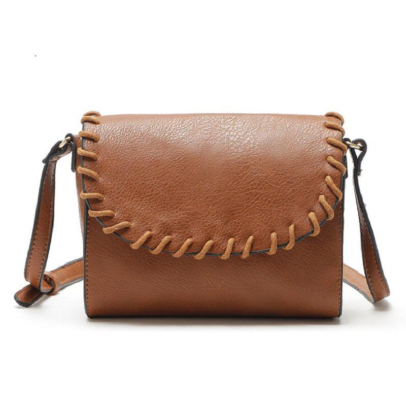 Vintage Small Women Bag  Knitting Shoulder Bag High Quality PU Leather Bags - BROWN