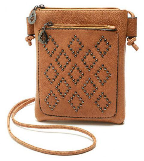 Small Shoulder Bag Vintage Rivet Women Messenger Bags for Phone - LIGHT BROWN