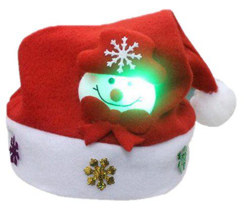 Christmas Hat for Children and Adults Non-Woven Pleuche Snowman Hats with Light - RED ADULT SIZE
