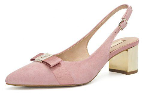 Louise et Cie Women's Thick Heel Sandals Fashion Bow Patchwork All Match Shoes - PINK EU 37