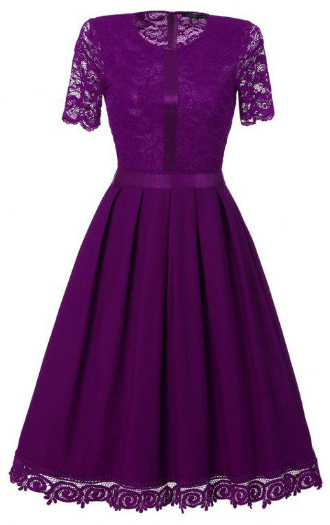Ladies' Summer and Summer Lace Dress - PURPLE L