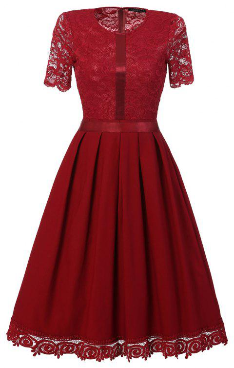 Ladies' Summer and Summer Lace Dress - RED WINE L