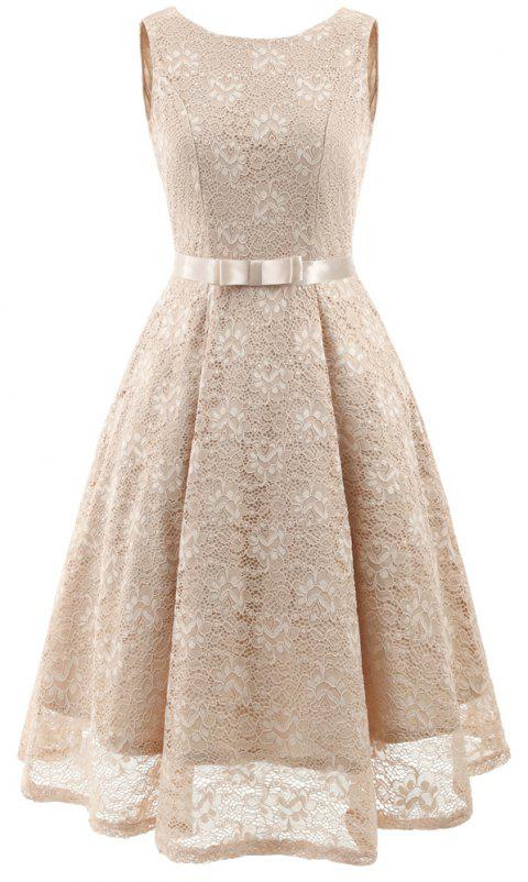 Lady Round Neck Sleeveless Lace Dress - APRICOT XL