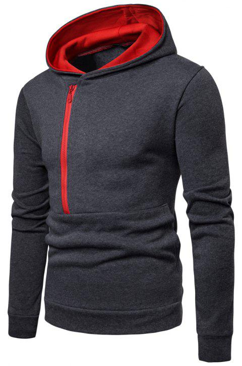 Winter Men's Long Sleeve Paneled Zip Sweatshirt - DARK GRAY 3XL