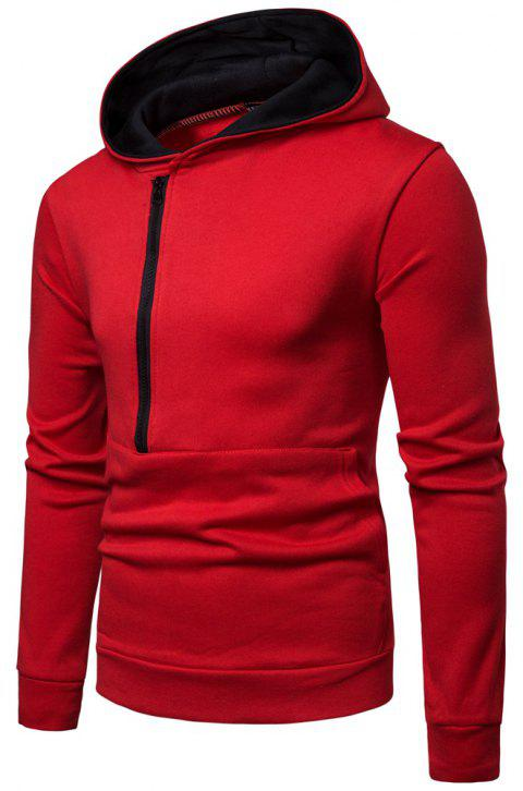Winter Men's Long Sleeve Paneled Zip Sweatshirt - RED 3XL