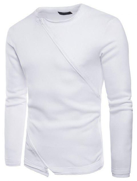 Solid Color Diagonal Zipper Fashion Design Men's Sweater - WHITE S