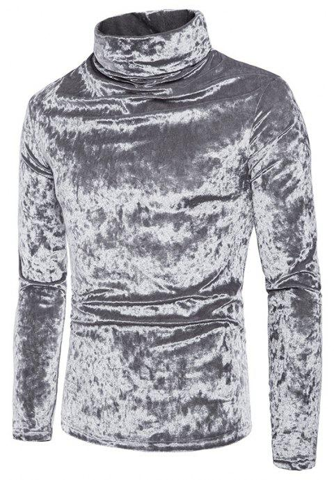 Men's Solid Color Fashion High Collar Pullover Sweater - SILVER M