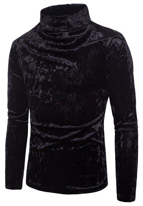 Men's Solid Color Fashion High Collar Pullover Sweater - BLACK M