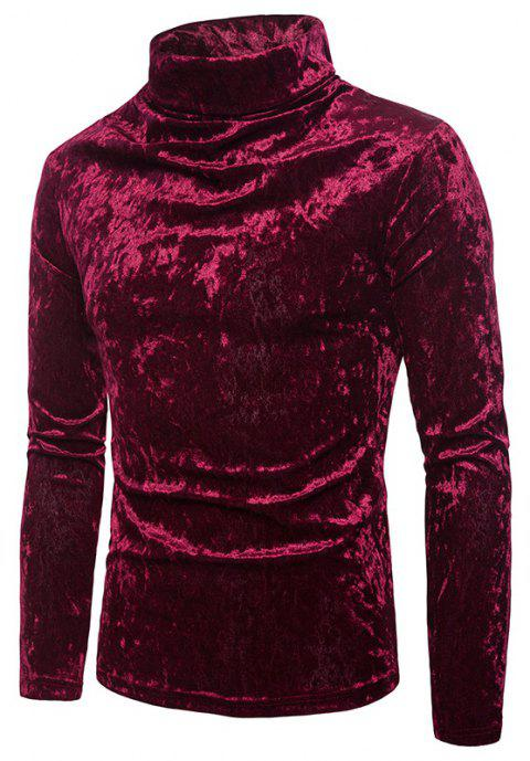 Men's Solid Color Fashion High Collar Pullover Sweater - RED WINE 2XL