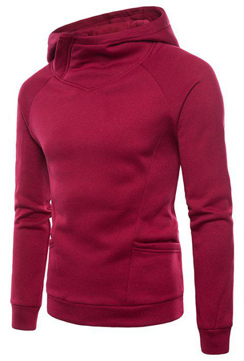 Solid Color Fashion Men's Hooded Sports Sweater - RED S