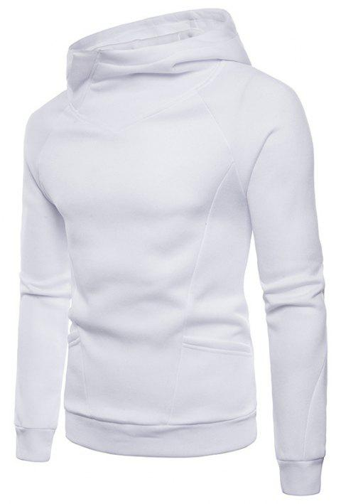 Solid Color Fashion Men's Hooded Sports Sweater - WHITE L