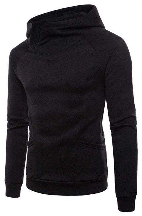 Solid Color Fashion Men's Hooded Sports Sweater - BLACK M