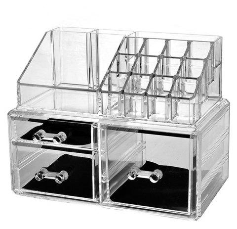 Cosmetic Storage Box Combination Cosmetic Storage Free Stacking Storage Cabinet - TRANSPARENT