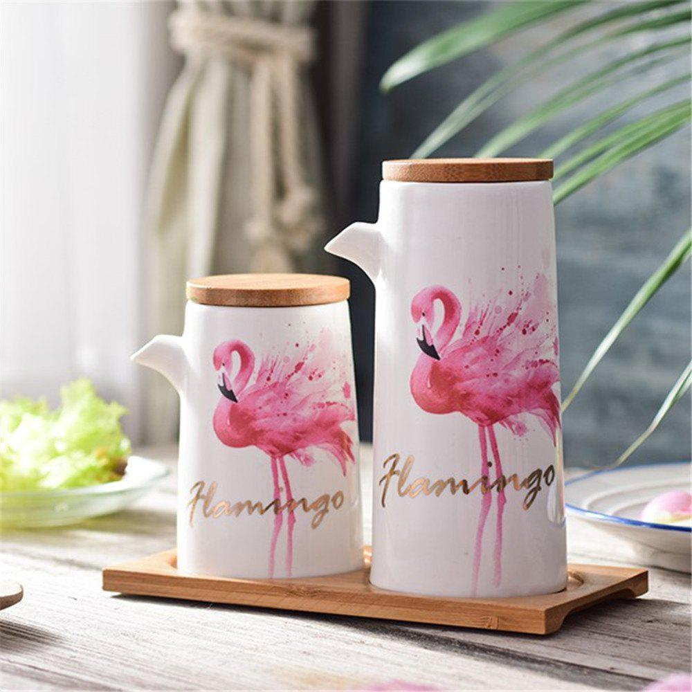 Modern Style Flamingo Patte Oil Bottles With Wooden Tray - multicolor A