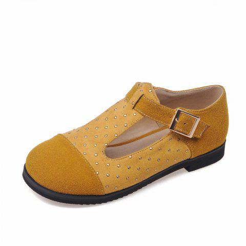 Riveted Tongs with Round Head T Shaped Baby Shoes - ORANGE GOLD EU 38