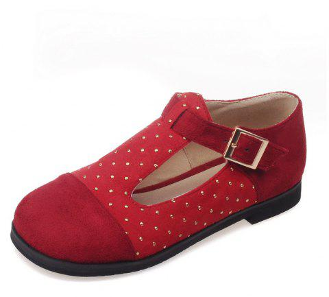 Riveted Tongs with Round Head T Shaped Baby Shoes - BEAN RED EU 42