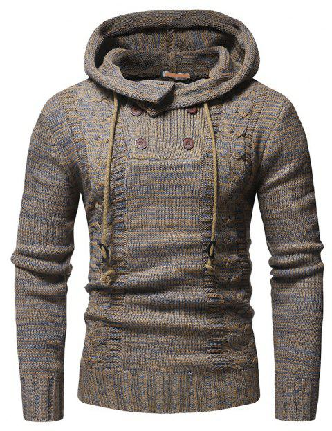Men's Fashion Double Breasted Casual Slim Hooded Large Size Sweater - TAN 2XL