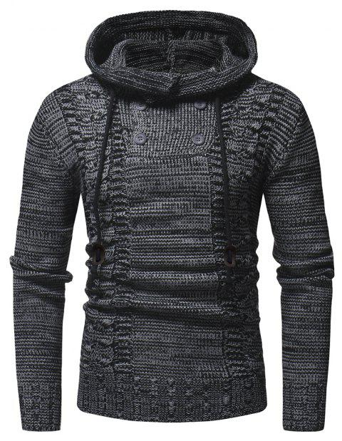 Men's Fashion Double Breasted Casual Slim Hooded Large Size Sweater - BLACK XL