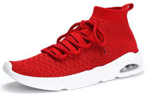 Men'S Air Cushion Shock Absorption Breathable Flying Mesh Sports Running Shoes - RED EU 41