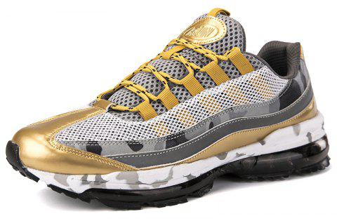 Men'S  Breathable Lightweight Flying Woven Mesh Sports Shoes - GOLDEN BROWN EU 45