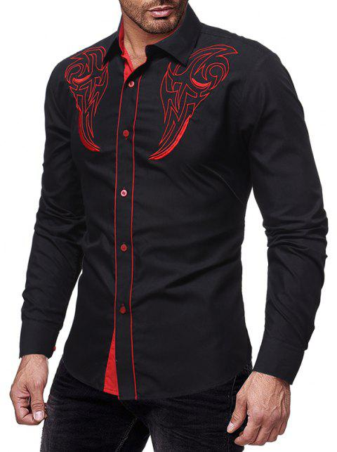 2018 New Embroidery Men's Casual Slim Long-Sleeved Shirt - BLACK 3XL