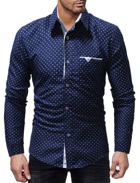 New Five-Pointed Star Print Men's Casual Slim Long-Sleeved Shirt - CADETBLUE L